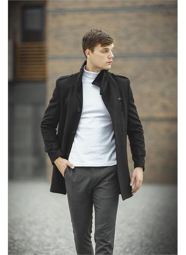 Oksit Oksit Tuci Payson Dik Yaka Cep Detaylı Kaşe Palto Siyah